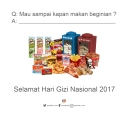 Selamat hari gizi national 2017! Ayo perbanyak gizimu dgn makanan sehat dan mulailah mengurangi makanan yg dpt merusak tubuhmu!